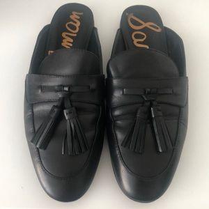 Sam Edelman Black Leather Tassel Mules